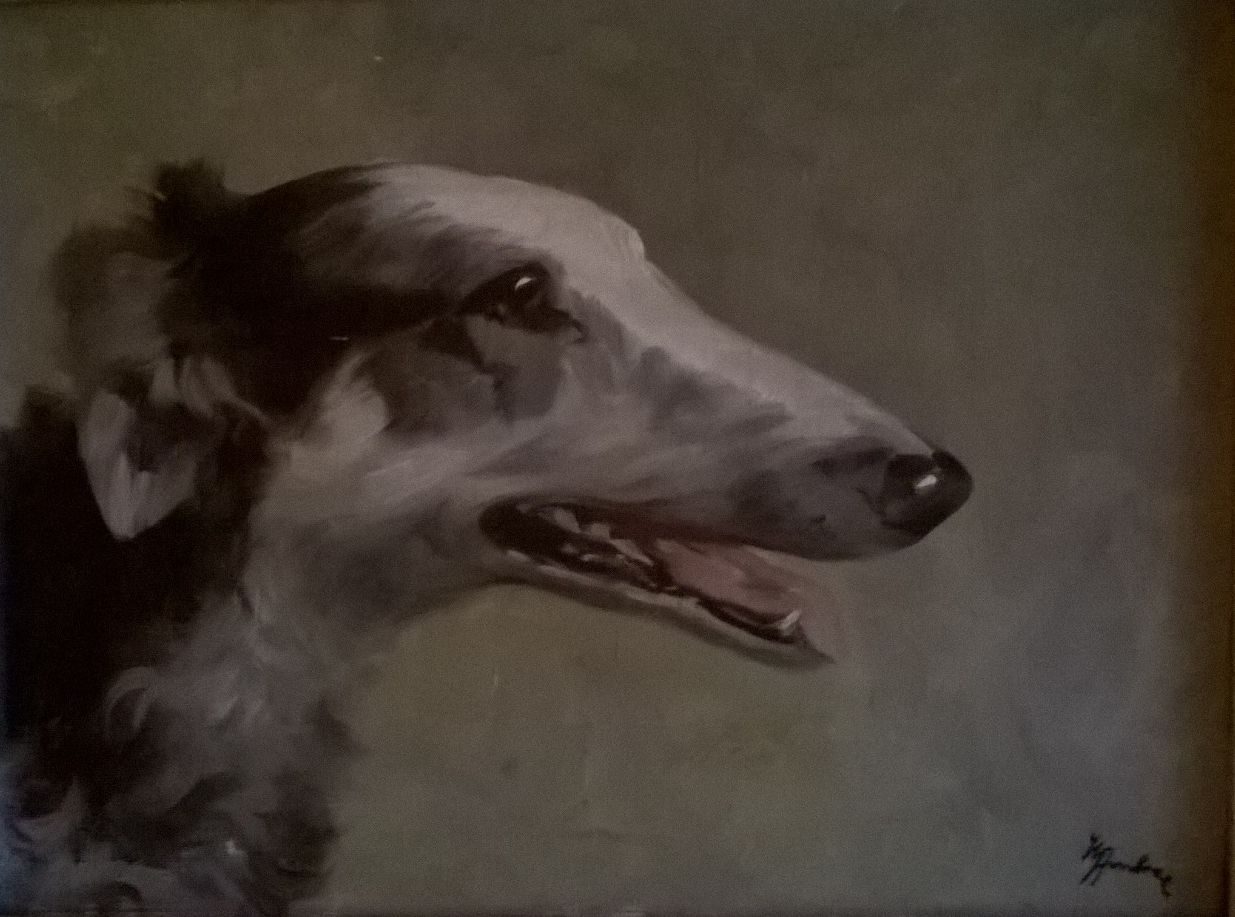 Old borzoi oil on canvas painting