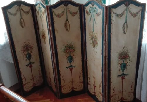 Louis XVI style five-panel folding screen