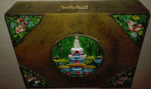Antique Chinese cloisonne brass box