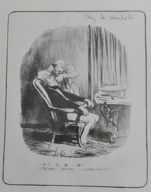 Lithograph based on Honore Daumier drawing Chez le Dentiste