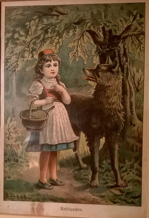 Little Red Riding Hood antique lithograph