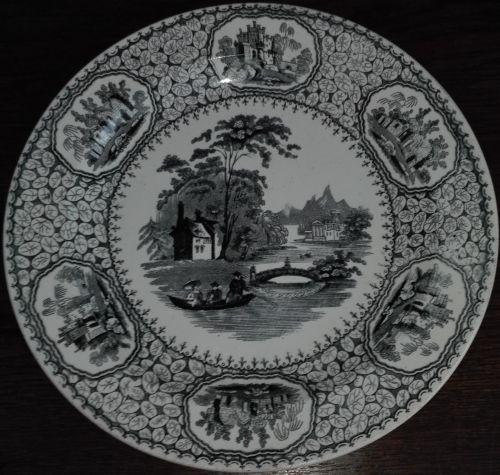 Engagement Transferware Fianc\u00e9e Faience Jemappes Belgium Antique plate wedding