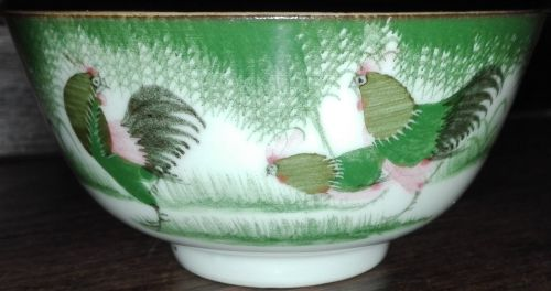 Antique Chinese famille rose rooster bowl