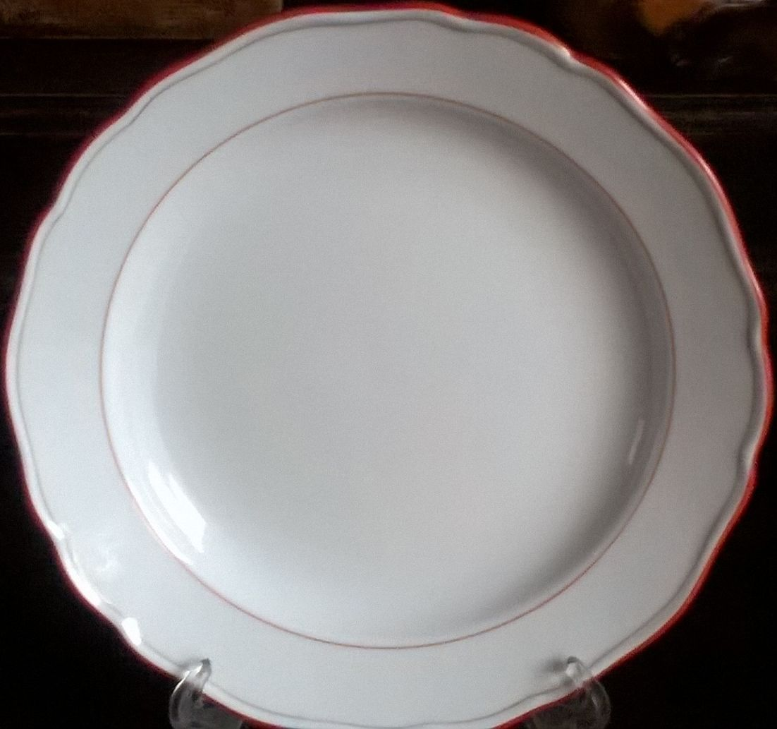 Meissen porcelain plain red plate